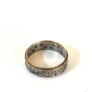 Antique Art Deco 9ct Gold and Sterling Silver Full Eternity Ring #36