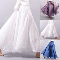 Women Linen Lady Pleated Maxi Long Beach Boho Vintage Casual Dress Skirt
