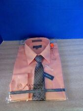 ANTONIO FELLICI~Peach Long Sleeve DRESS SHIRT & MATCHING TIE~Boys 16~NEW