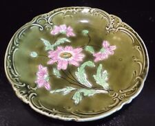 Antique IMPERIAL BONN Germany Astra Majolica Floral Green PLATE