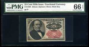 25 Cent Fifth Issue Fractional Currency Fr#1309 Gem 66 EPQ PMG 182965-007