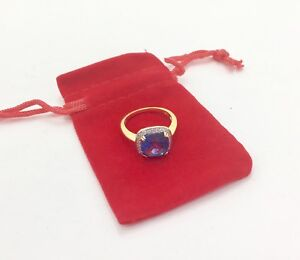 Blue CZ Crystal Ring 9ct Gold Plated over 925 Silver Ring, RRP £40