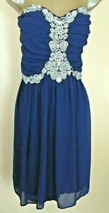 City Triangles Dress Womens Strapless Navy Gems Prom Formal NEW Size 22 Miss