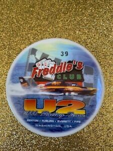 RARE NUMBERED U-2 FREDDIE'S CLUB #39 SEATTLE SEAFAIR HYDROPLANE BUTTON PIN
