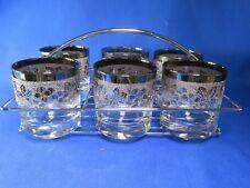 Vitreon Queen's Lusterware Six Silver Luster Tumblers, Metal Rack, Mid-Century