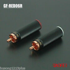 4pcs gaofei RED06R red copper Rca plugs connector hi-end audio