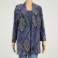 Chico's Travelers Accordion Pleated Printed Open Jacket 2 LARGE 12 14 Black Blue