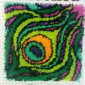 """Dimensions get Hooked """"Colorful Feather"""" Latch Hook Craft Kit 16"""" x 16"""" Pillow"""