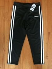 Adidas Girl's Size Medium (10/12) M Black Three White Stripes Capris