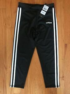 Adidas Girl's Size Medium (10/12) M Black Three White Stripes Capris
