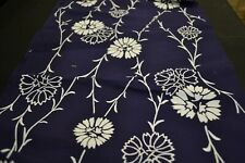 Japanese Cotton Fabric Navy with White Floral Design 1632