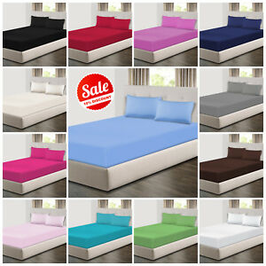 Extra Deep 25cm Fitted Sheets Bed Sheets & Pillow Cases Single Double King Size