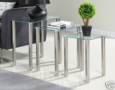 Nest of 3 Tables Black Clear Glass Side End Square Modern Table Set Chrome Legs