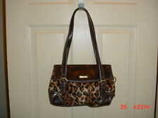 "AUTHENTIC DUCK HEAD BROWN LEATHER ""CHEETAH PRINT"" HANDBAG-PURSE/LOGO/CLEARANCE"