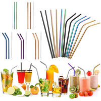 5Pcs Stainless Steel Metal Drinking Straw Reusable Bar Straws Cleaner Brush Kit