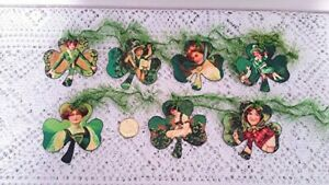 7~St Patrick's Day~Vintage~Shamrock~Fussy Cut~Linen Cardstock~Gift~Hang~Tags