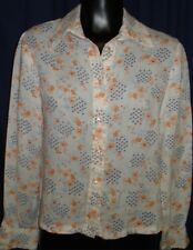 VTG Cream Peach Blue Flowers Long Sleeve Blouse Shirt Top Small Floral Groovy