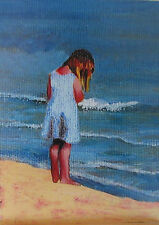 Girl on Beach ACEO Limited Edition Giclee Print Of Original Acrylic Painting