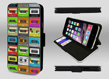 Retro Cassette Tape Old school Mixtape Collage Wallet Leather Phone Case Cover