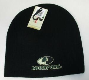 Mossy Oak Black Beanie Stocking Cap Winter Hat Toboggin Outdoor Hunting Skiing