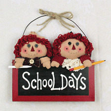 Americana Plush Raggedy Doll Pair With Welcome School Day Sign Chalk Board Style