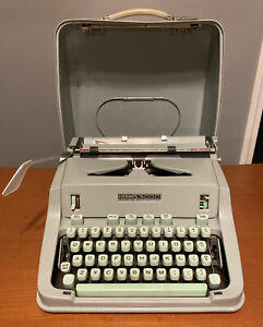 Vtg 1966 Hermes 3000 Model Portable Manual Typewriter Green W/ Case Working