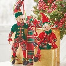 "RAZ Imports 19"" Posable Elves Elf Ornament Set/2 Red Green Plaid Gold NEW"
