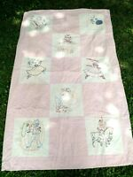 Vintage Hand Embroidered Pink Nursery Rhyme Baby Quilt Wall Hanging