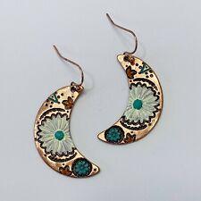 Copper Tone Metal Flower Petal Design Half Moon Shape Drop Dangle Hook Earrings