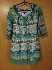 My Michelle Girls Blue & Green dress With Crochet Lace Size 7