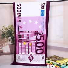 FIVE HUNDRED EURO  BEACH BATH TOWEL 500 MONEY BLANKET  30x60 Inch 70x150cm