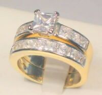 3.25 Ct Princess Diamond Solitaire Engagement Ring Wedding set Yellow Gold ov