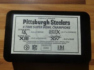 Pittsburgh Steelers 4 Time Super Bowl Champions .999 Silver Coins Set