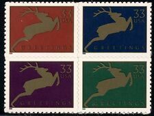 1999 33c Christmas Greetings Deer, Block of 4 Scott 3356-3359 Mint F/VF NH