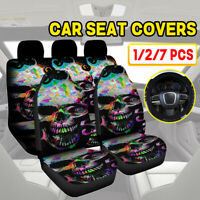 1/2/7Pcs Universal Car Seat s Skull Design Front & Rear Seat Full