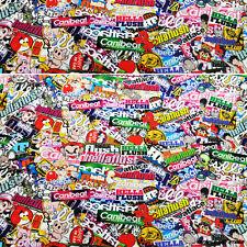 JDM Cartoon Hellaflush Graffiti 30x59 Inch Sticker Bomb Vinyl Wrap Sticker Decal