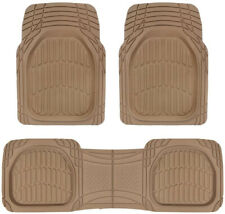 Sharper Image 3pc Set of Rubber Floor Mats - Thick Heavy Duty All Weather Beige