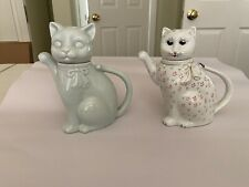 Two ceramic cat teapots: White ceramic teapot, and White flowered teapot vintag