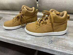 Nike Youth Size 4Y Court Borough Mid GS Tan Brown Mid Sneakers Suede Shoes