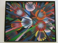 LARGE 1970'S ABSTRACT PAINTING MYSTERY ARTIST SIGNED GEOMETRIC OP POP MODERNISM