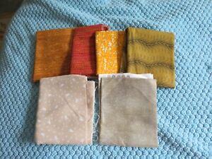 6 fat quarters - orange, tan, green cotton prints