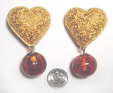STATEMENT Vintage DOMINIQUE AURIENTIS  Gold Dangle PUFFY HEART EARRINGS Paris
