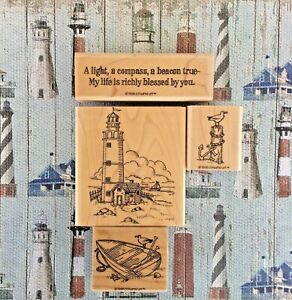 Stampin Up Lighthouse Wood Mounted Rubber Stamps Rowboat Anchor Blessed Phrase