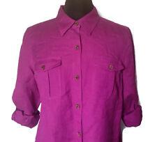 Ruby Rd. Petite Purple Button Down Shirt 14P Linen Rayon Button Cuff Long Sleeve