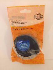 Compatible dymo letratag plastique étiquettes 12mm x 4m noir sur bleu ruban cassette