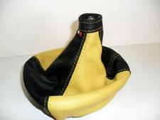 Headphone gear lever Fiat 500 L black genuine leather - yellow