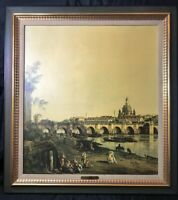 Vintage A. Canaletto- Dresden View of the Elbe Turner Wall Art Orig. Frame 28x24