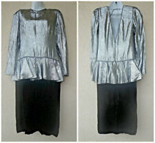 ViTg 80s Aj Bari Peplum Prom Cocktail Party Dress Silver Lame' & Black Velvet M