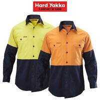 Mens Hard Yakka Shirt Hi-Vis 2 Tone Long Sleeve Drill Work Safety Cotton Y07982
