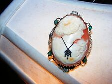 VINTAGE 14 KT SHELL CAMEO BROOCH PIN PENDENT ANTIQUE WITH STONES HABILE
